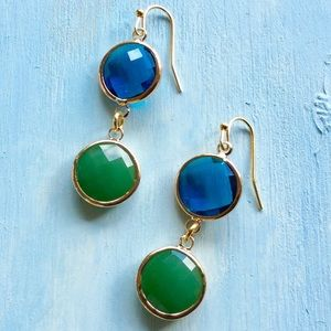 18k Gold Plated Drop Earrings Blue Green Stone